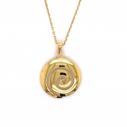 Spiral necklace archaic greek classic design, gold shiny finish