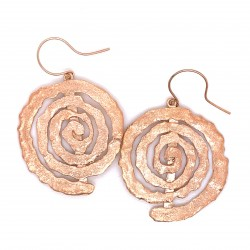 Earrings with hook, melted spiral from rose gold plated silver, large