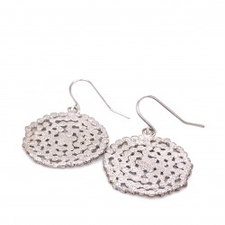 Earrings Stefania with hook, from sterling silver and diamond hit