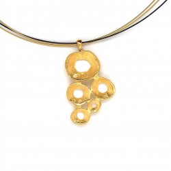 Necklace pendant with organic shell shape, made from 925 sterling silver with gold plating
