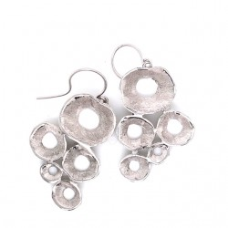 Earrings hook made from sterling silver with shell organic shape, rhodium plated