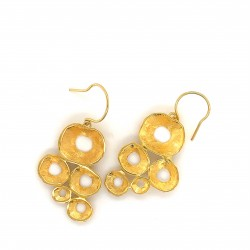 Earrings made from sterling silver with shell organic shape, gold plated