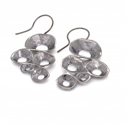Earrings hook made from sterling silver with shell organic shape, black rhodium plated