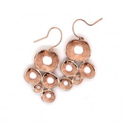 Earrings hook made from sterling silver with shell organic shape, rosegold plated