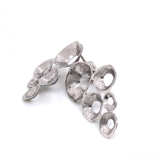 Earrings made from sterling silver with shell organic shape , rhodium plated
