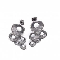 Earrings made from sterling silver with shell organic shape, black rhodium plated