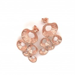 Earrings made from sterling silver with shell organic shape , rosegold plated
