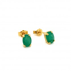 k18 gold earrings with Emerald