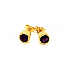 K14 gold earrings with dark color amethyst