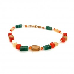 Mixed semiprecious stones knotted bracelet with 18K gold elements