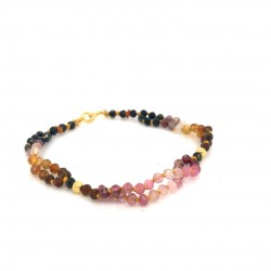 Tourmaline knotted bracelet with 18K gold elements