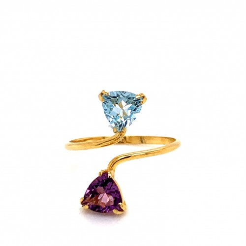 k14 gold ring with Amethyst and Blue Topaz