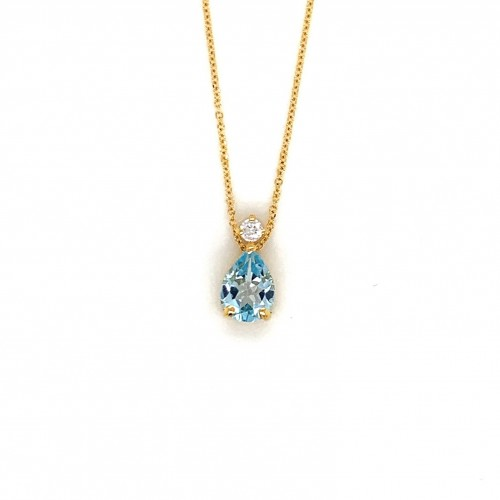 k14 gold necklace chain with blue Topaz and zircon...