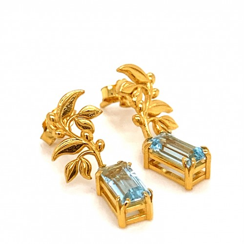k14 gold olive earrings with Blue Topaz