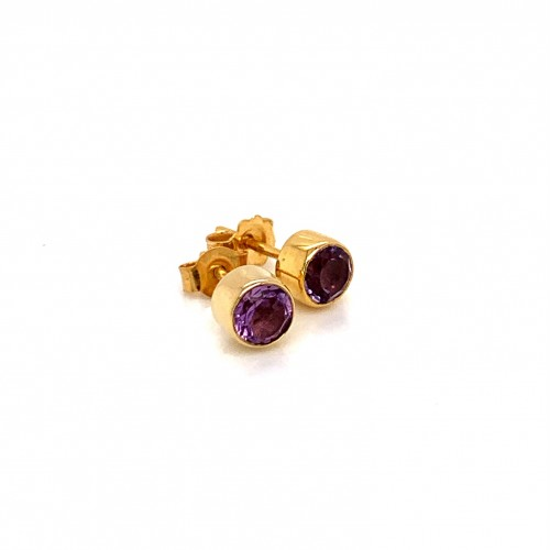 K14 gold earrings with light color amethyst