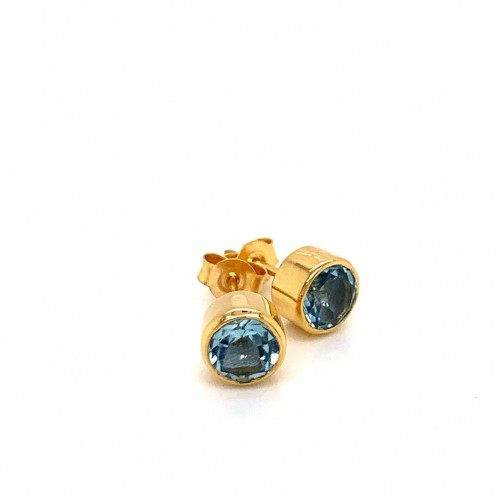 k14 gold earrings with Round Blue Topaz