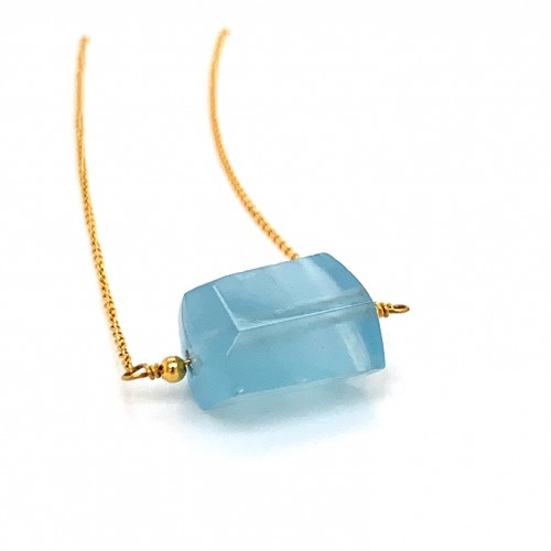 k14 gold necklace chain with Aquamarine