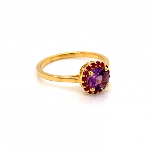 k14 gold ring rosette with Amethyst and Rubies