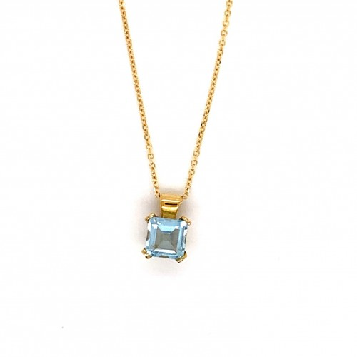 k14 gold necklace chain with square blue Topaz