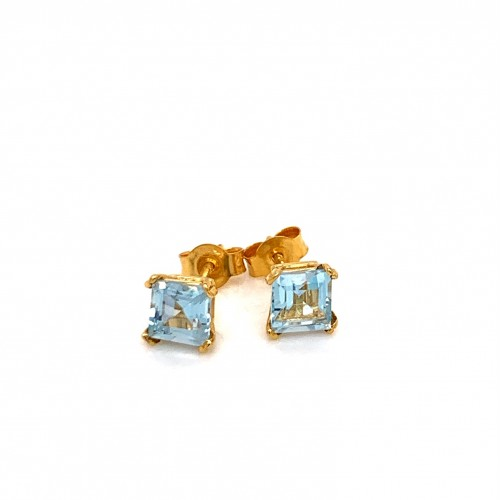 k14 gold earrings with square blue Topaz