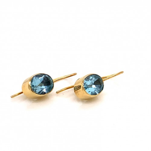 K14 gold earrings with oval Blue Topaz