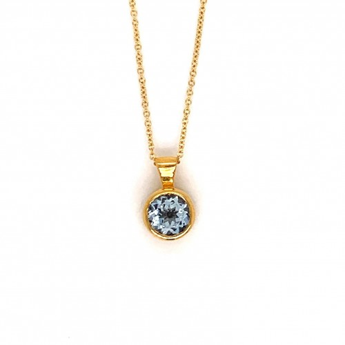 k14 gold necklace chain with Round Aquamarine