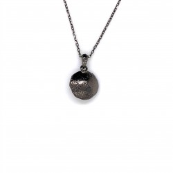 Pearl necklace, black , mini shield