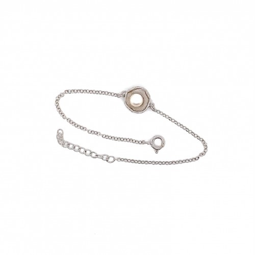 Bracelet with pearl, chain, silver, mini shield
