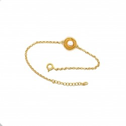 Bracelet with pearl, chain, gold, mini shield