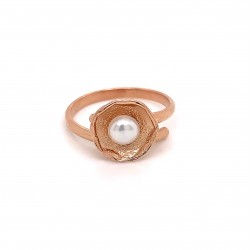 Ring with pearl, adjustable, rose gold, mini shield
