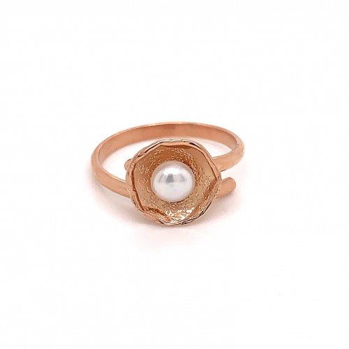 Ring with pearl, adjustable, rose gold, mini shiel...