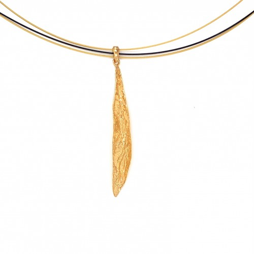 Necklace olive leaf, organic shape from sterling s...
