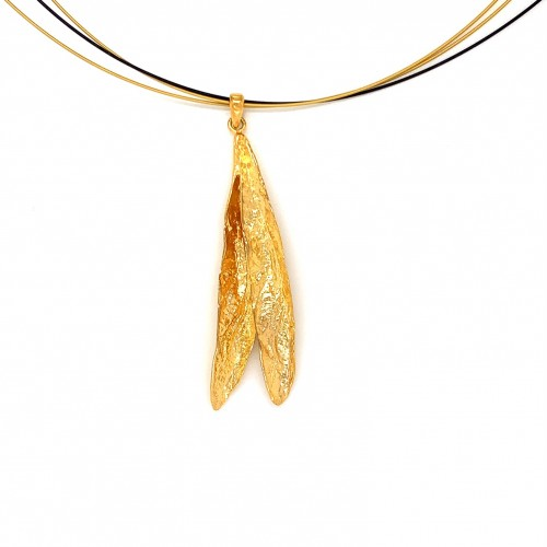 Necklace double olive leaves, organic shape from s...
