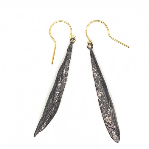 Earrings olive leaf from sterling silver,organic s...