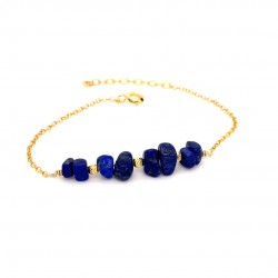 Goldplated silver bracelet with chips lapis lazouli