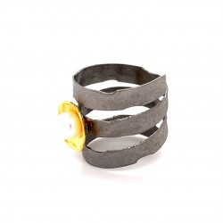 Melted triple ring with a shield motif
