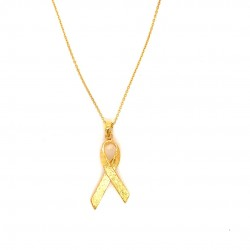 Breast Cancer Awareness chain necklace, pink ribbon
