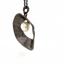 Necklace pendant with organic round shell shape, made from 925 sterling silver black rhodium plated