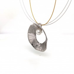 Necklace pendant with organic round shell shape, made from 925 sterling silver rhodium plated, xl