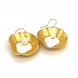 Earrings made from sterling silver with shell organic shape , gold plated, XL