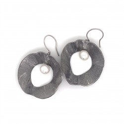 Earrings made from sterling silver with shell organic shape , black rhodium plated, XL
