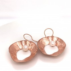 Earrings made from sterling silver with shell organic shape , rose gold plated, XL